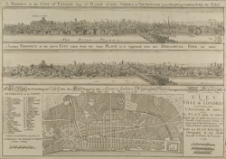 A Plan for Rebuilding the CITY after the Fire = VUES DE LA VILLE de LONDRES Comme il etoit devant & apres L'INCENDIE de 1666